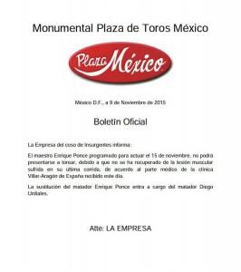 SUSTITUCION DE URDIALES POR PONCE EN LA MEXICO